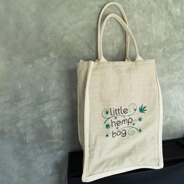 Large logo printed hemp shopping tote bag from Thailand