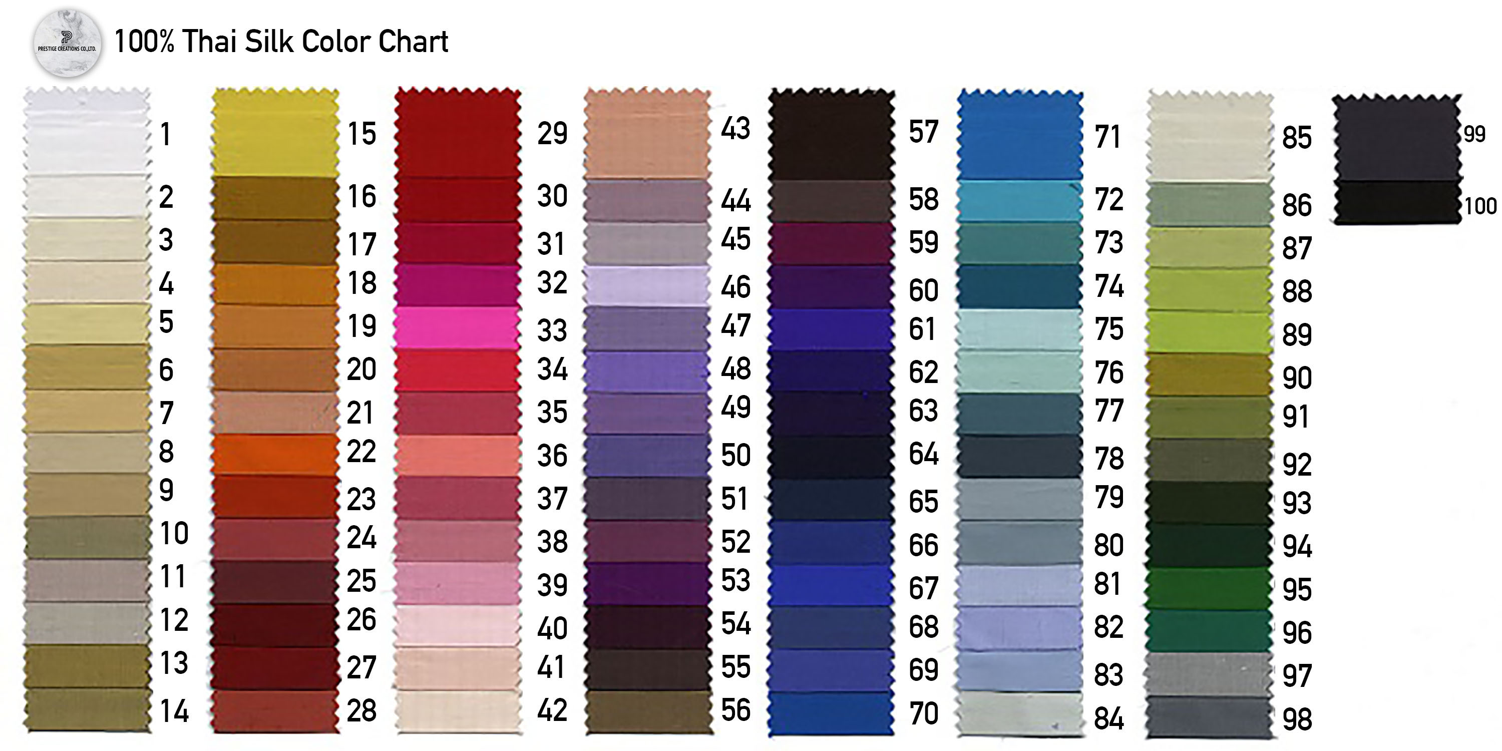 100% Thai silk color chart