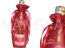 red organza wine bottle bag