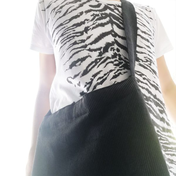 black corduroy cross-body bag