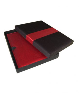 Beautiful black & red silk covered invitation box