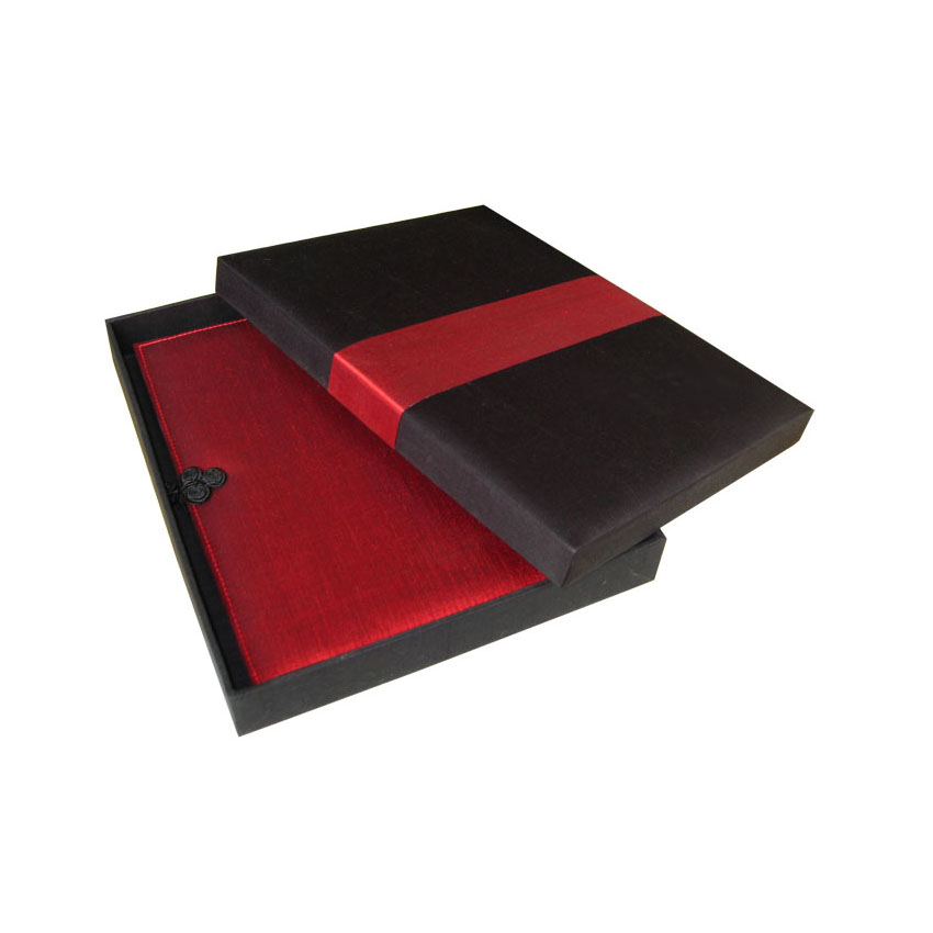 Gift Box Wedding Invitations: Black & Red Thai Silk Box Available With Logo For Gift