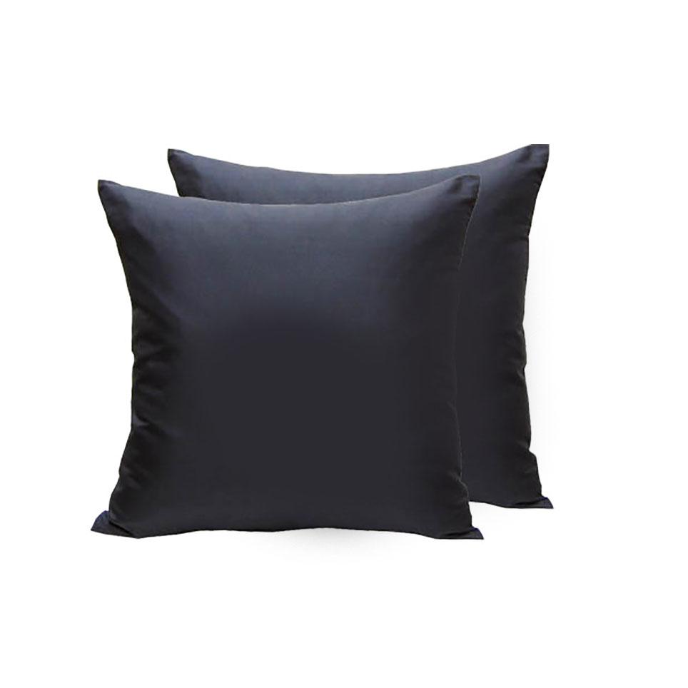 Black 100 Thai Silk Cushion Cover With Zipper In 16 X 16