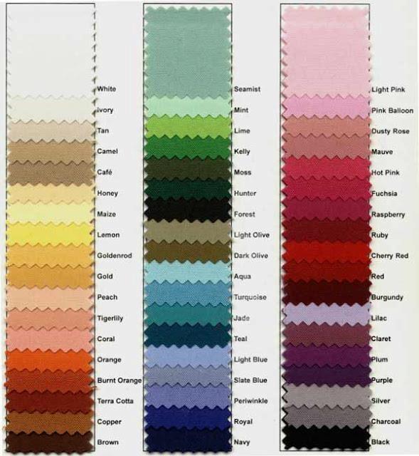 Thai cotton fabric color chart