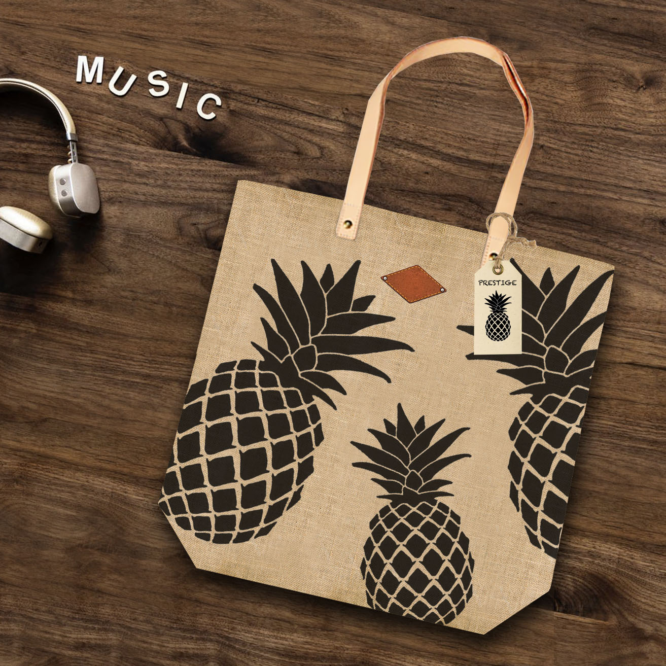 Leather Handle Tote Bag With Pinele Print