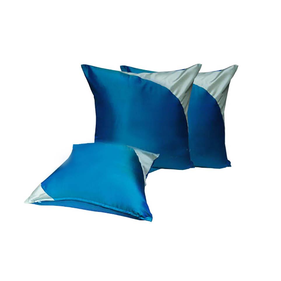 Modern Teal Color Thai Silk Cushion For Asian Decor