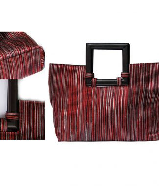 luxury silk handbags with wooden handle