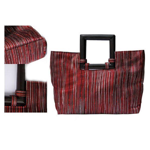 luxury silk handbags with wooden handle