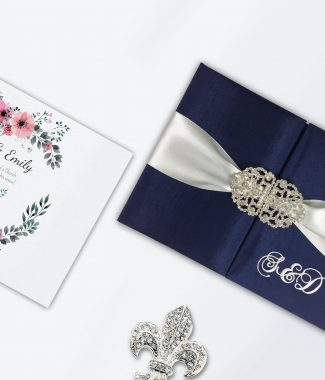 Monogram silk invitation