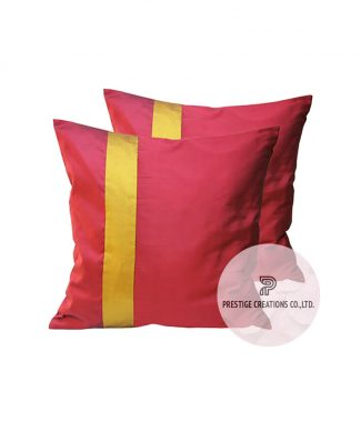 red silk cushion cover