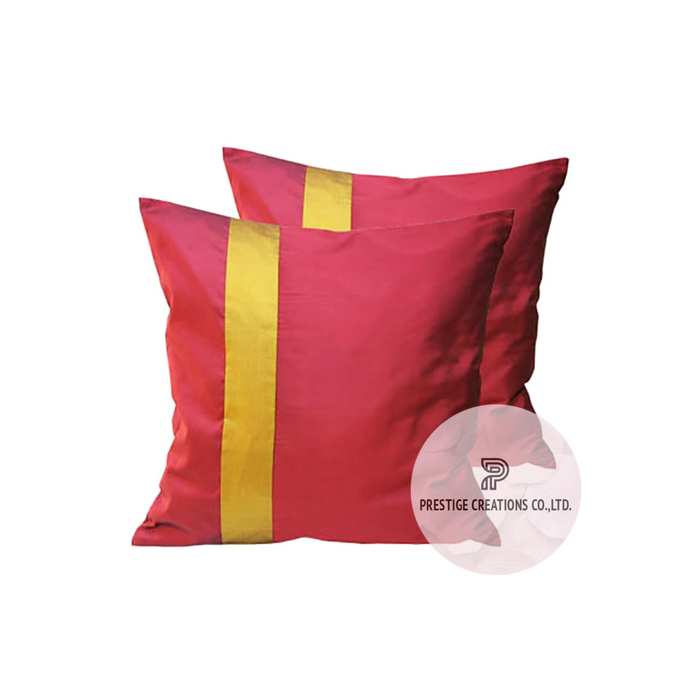 Red Thai Silk Cushion Cover For Wholesale For Asian Decor