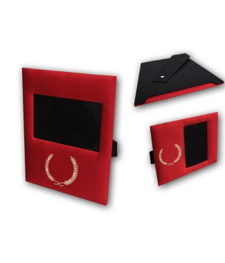 red silk picture frame