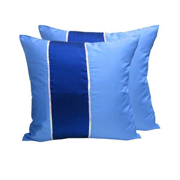 Thai silk cushion in blue