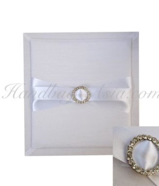 white silk pad with buckle for invitations