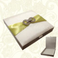 Embellished ivory high-end wedding box with hinged lid