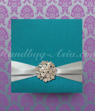 luxury wedding invitation card holder with brooch