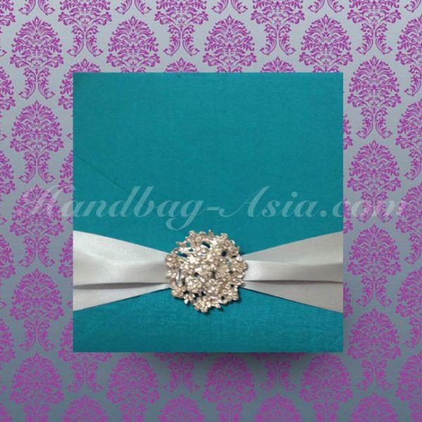 luxury wedding invitation card holder with brooch