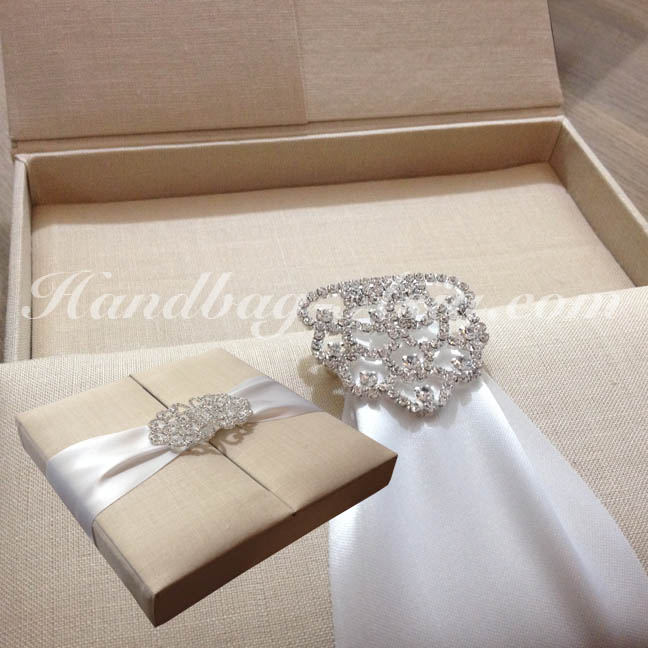 Unique Wedding Invitations In A Box: Embellished Linen Box For Invitation Cards