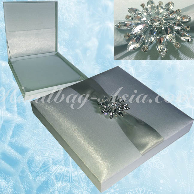 Ice Blue Wedding Invitation Box With Snowflake Brooch