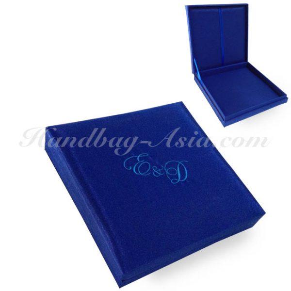Royal blue embroidered silk wedding invitation box