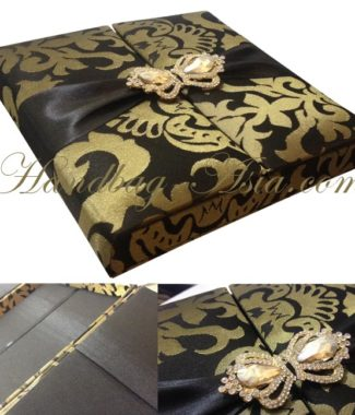 Brocade Silk Box For Wedding Invitation Cards