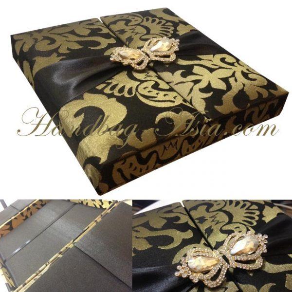 Brocade Silk Box For Wedding Invitation Cards
