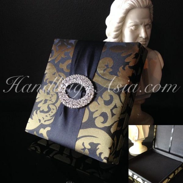 brocade silk wedding box with large buckle embellishment