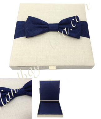 Linen wedding invitation box with silk bow