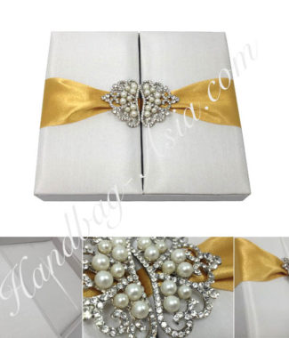 pearl brooch embellished luxury wedding box