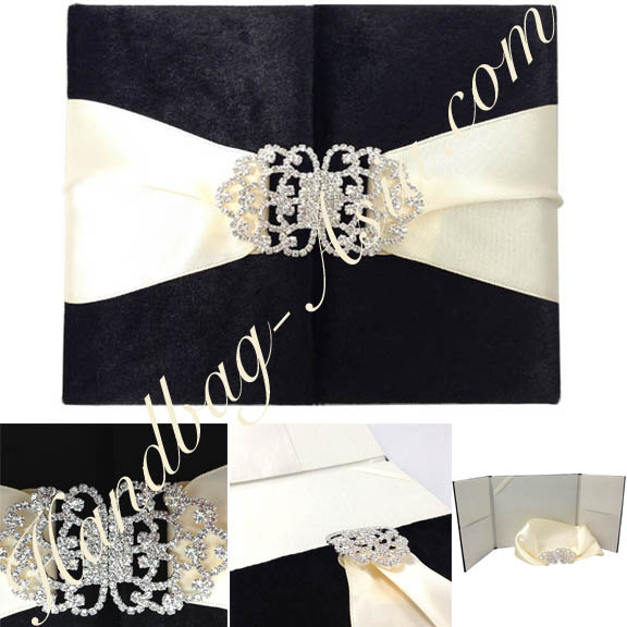 black velvet invitation with rhinestone clasp