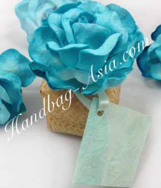 bamboo favor box with paper flower and card