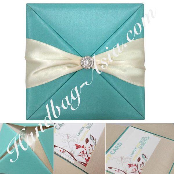 high end silk wedding pocket folder
