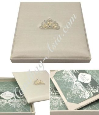 Crown pearl brooch embellished square shape wedding invitation box in 7x7x1 inches