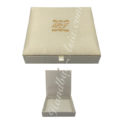 Small monogram embroidered ivory wedding box for invitations
