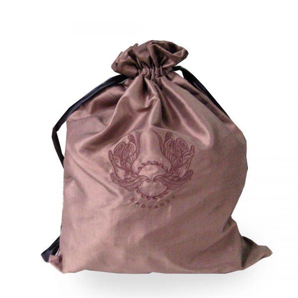 Embroidered brown silk drawstring bag