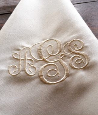 Monogram Embroidered Silk Wedding Table Napkins