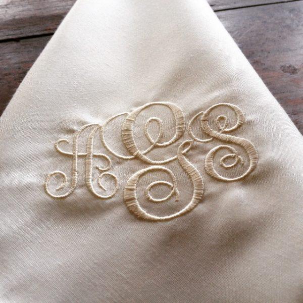 Monogram Embroidered Silk Wedding Table Napkins