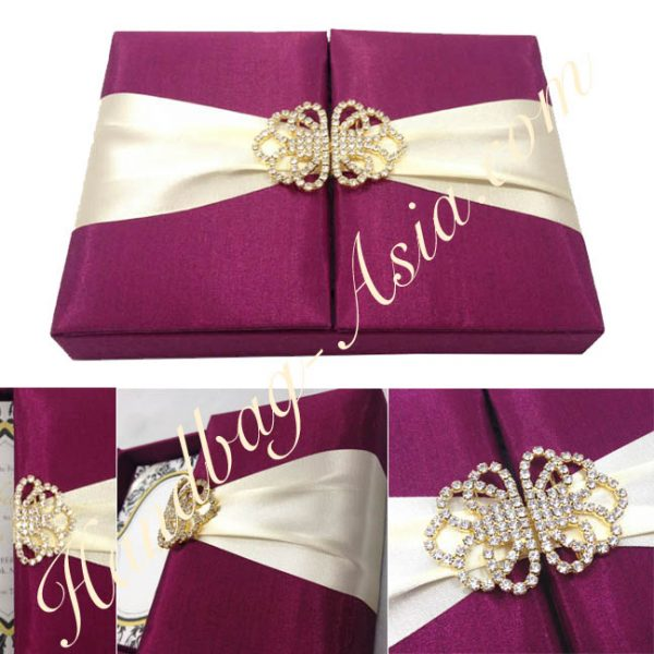 Embellished Magenta Wedding Box With Golden Crystal Clasp