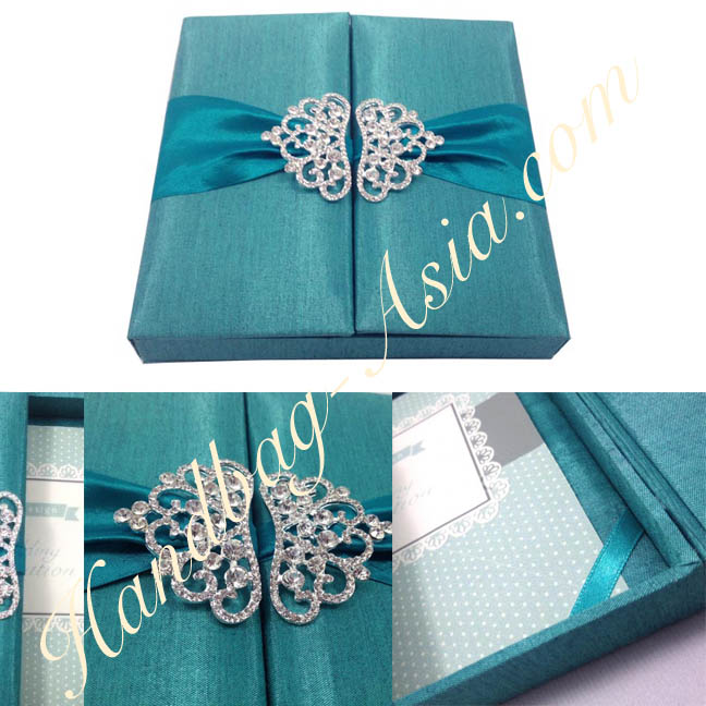 Teal Wedding Invitation Box With Crystal Crown Pair Brooch