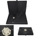 Large Black Box With Embellishment & Removable Silk Insert For Wedding Invitation Cards