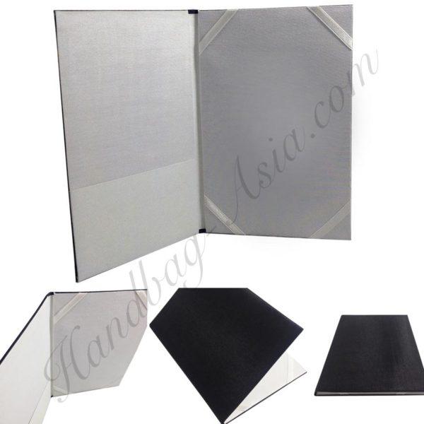 Padded black + white book style invitation folio