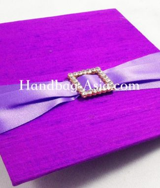 Violet Dupioni Silk Wedding Card With Golden Rhinestone Buckle