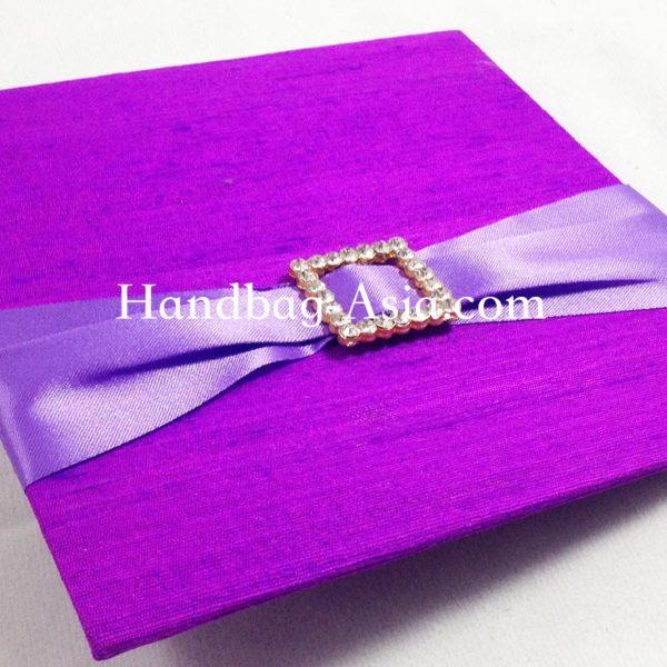 Violet Dupioni Silk Wedding Card With Golden Rhinestone Buckle