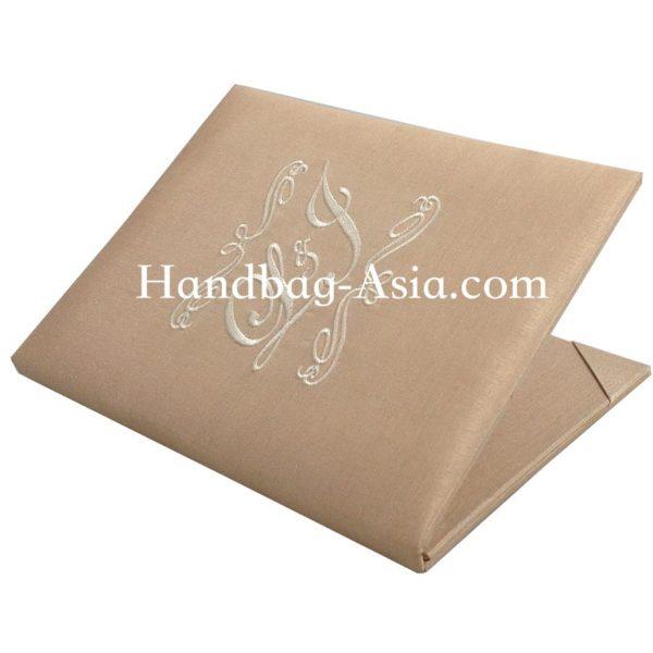 Cream Monogram Embroidered Wedding Book-Fold Invitation