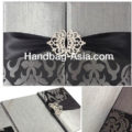 Silver & Black Brocade Silk Folio Invitations With Crown Pair Crystal Brooch