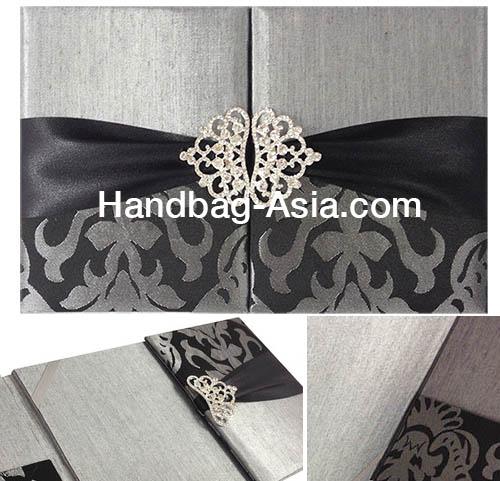 Silver & Black Brocade Silk Folio Invitations With Crown Pair Crystal Brooch