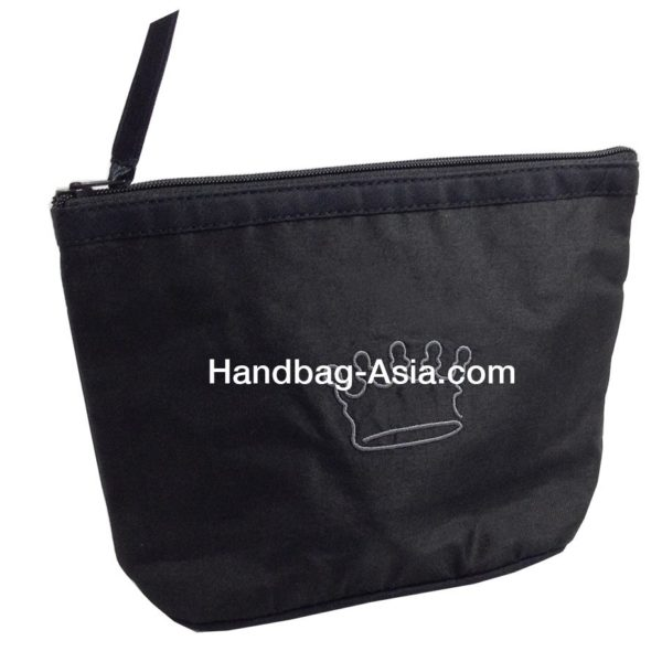 Embroidered black silk cosmetic bag