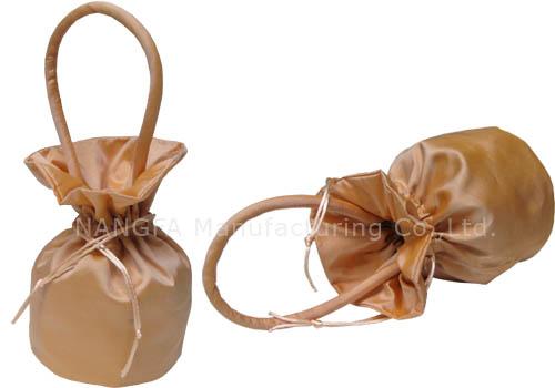 champagne silk evening bag