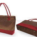 brown and red silk bag in large size with shoulder handles