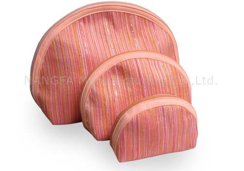 Zippered blush pink Thai silk cosmetic bags